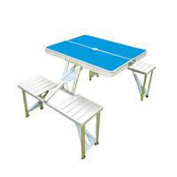 Folding Outdoor Camp Suitcase Picnic Table 4 Seats 5 Piece Table and Benches Set With Carrying Case