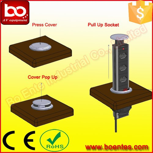 Tabletop Vertical Pop Up Socket Kitchen Hidden Outlets With Usb Charger