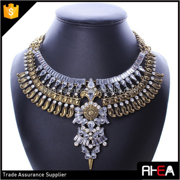 cad5f36023ef Joyería al por mayor del babero del collar fornido Antique color completo  cristal vintage gargantilla collar