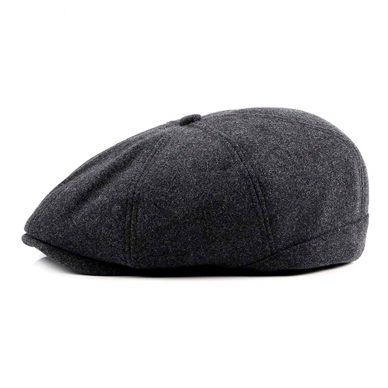 1e4c9496d05 Get Quotations · WAZZIT 8 Panel Wool Blend newsboy Hats Solid IVY Irish  Cabbie Caps Driver Beret Hats