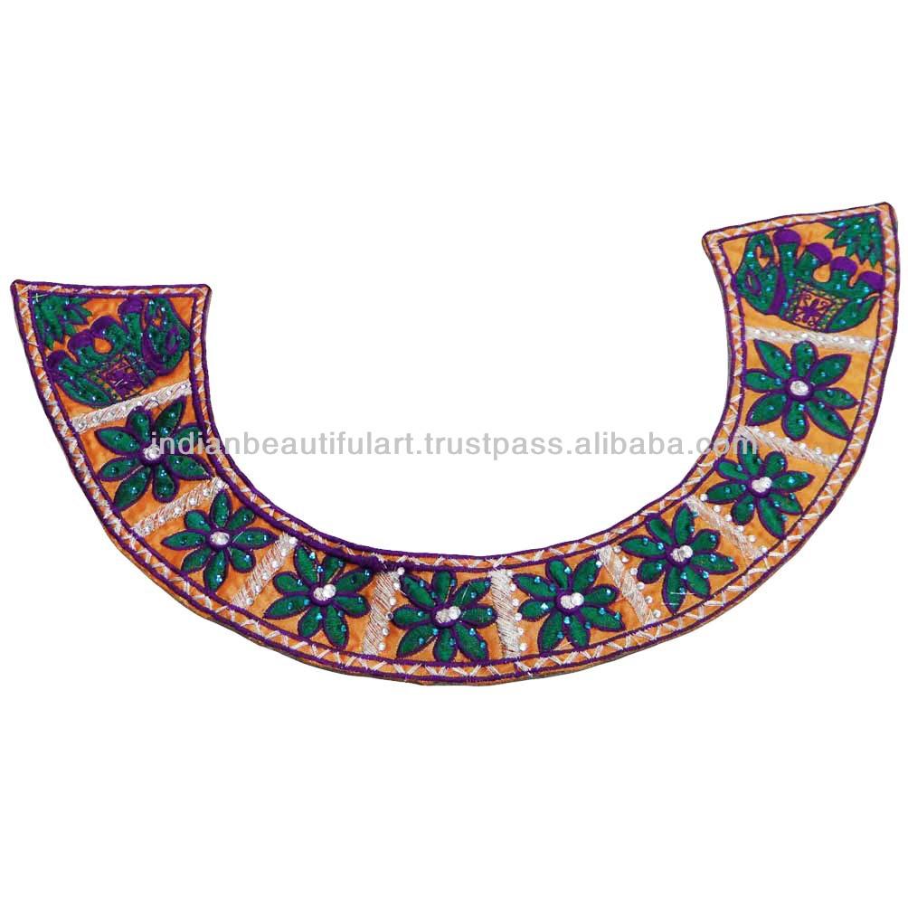 Indian Neck Patch Floral Design Embroidered Quilting Orange Dress ...