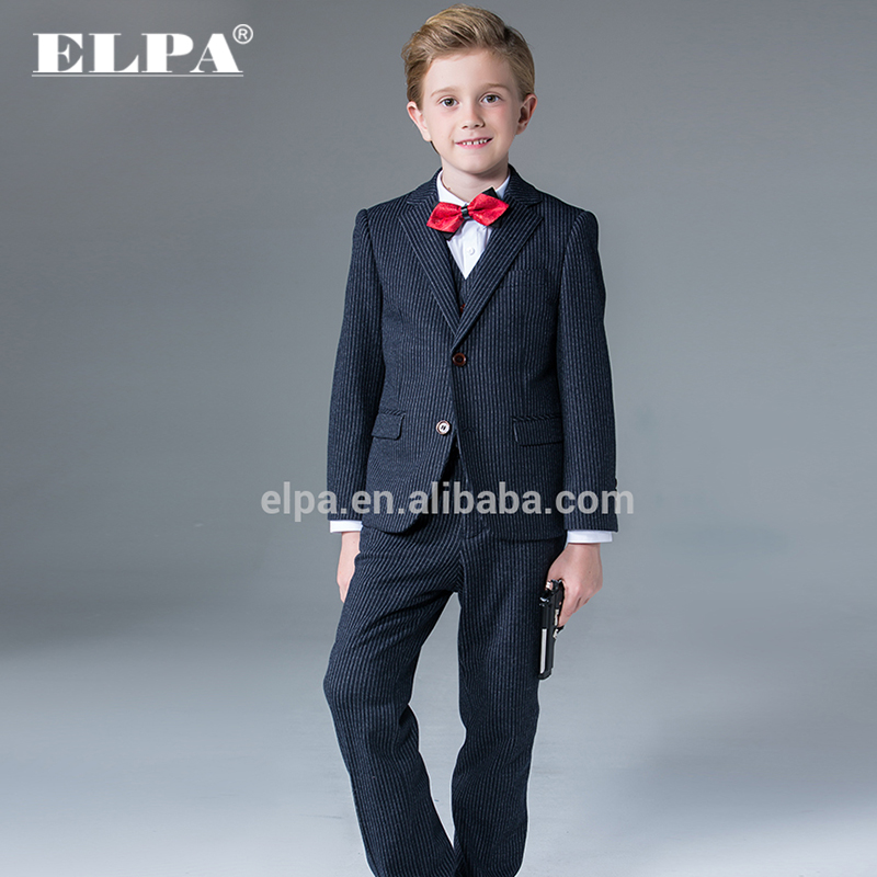 ELPA fancy kids clothes boys tailor made dark blue striped knitted wholesale 3 piece kids suits