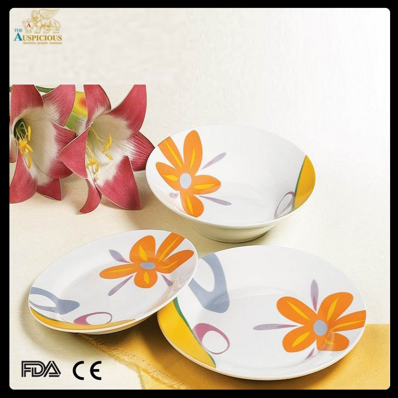 good quality new bone china decal 18 pcs dinnerset for restaurant