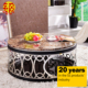 Black luxury stainless steel metal living room egyptian gold round coffee table