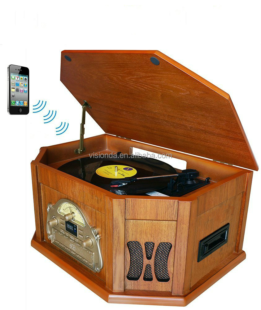 Retro Vintage Wooden vinyl Record Player AM FM Radio CD cassette USB Turntable