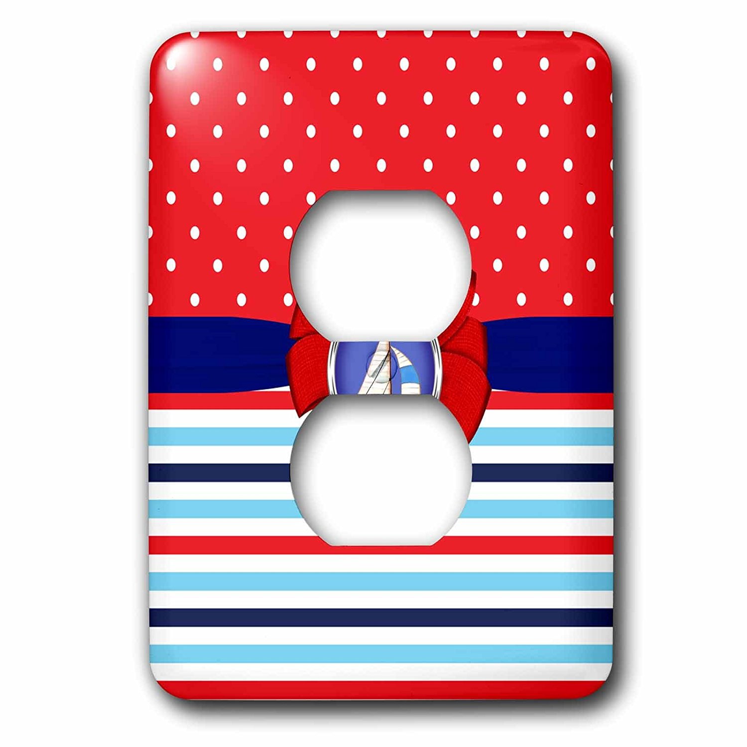 3dRose Anne Marie Baugh - Patterns - Cute Red, White, Blue, Polka Dots, Stripes, With Bow and Sail Boat - Light Switch Covers - 2 plug outlet cover (lsp_274148_6)