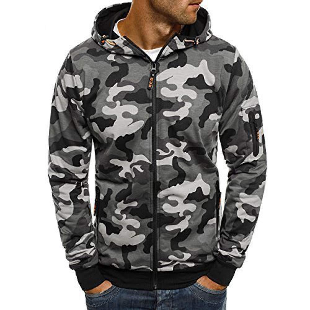 258ed17e31b6 Get Quotations · Mens Camouflage Jacket Zipper Sweatshirt BCDshop Man Sport Long  Sleeve Hoodie Tops
