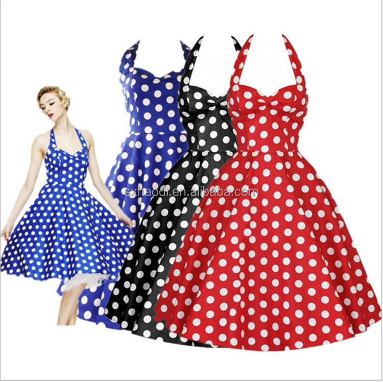 Three Color Elegant Delicate Halter 50s Vintage Dresses Evening Dress
