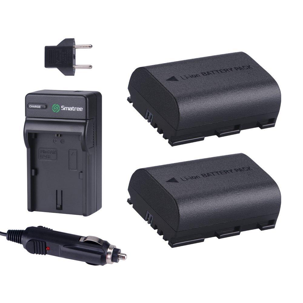 Smatree Replacement Battery(2-Pack) + Battery Charger for Canon LP-E6, LP-E6N, EOS 5D Mark II, EOS 5D Mark III, EOS 5DS, EOS 5DS R, EOS 6D, EOS 7D, EOS 7D Mark II, EOS 60D, EOS 60Da