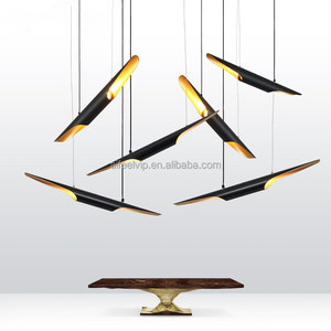 Modern decorative black aluminum bamboo shape led source hanging chandeliers pendant lamp/lights
