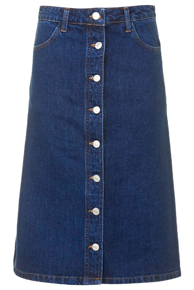 Girls Knee Length Denim Skirt Open Front Button Front Midi Length ...