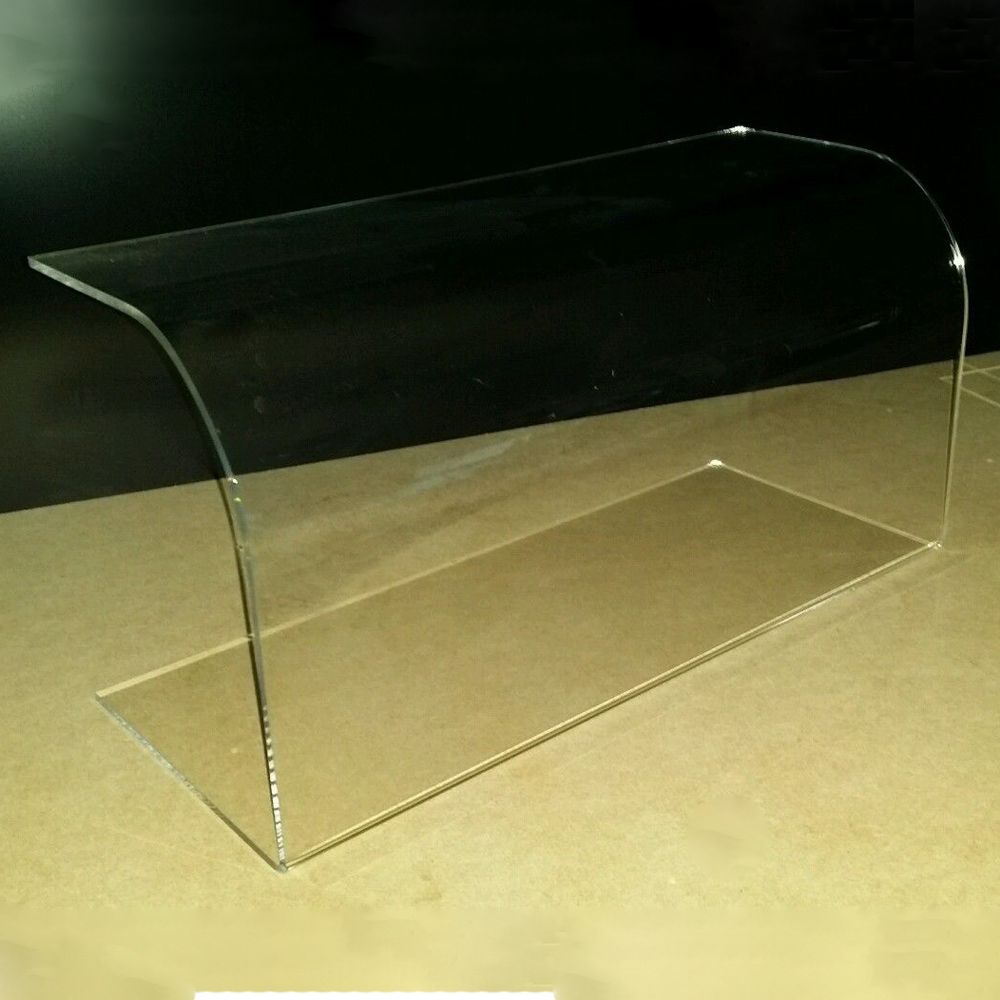 Curved Sneeze Guard Screen Clear Acrylic Perspex Food Cake Display 500mm Long Counter Food Cake Display Rack Dust Cover