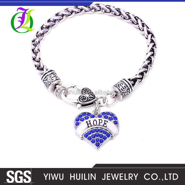 NK2406 Yiwu Huilin Jewelry Wholesale heart shape engraved letter HOPE four color crystal pendant bracelet