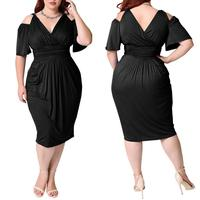Elegant new arrival woman plus size evening dress off shoulder big size party dress for fat women