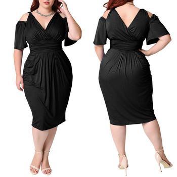 27ee38837 Elegante nueva llegada Mujer plus tamaño vestido de noche hombro gran  tamaño vestido de fiesta para