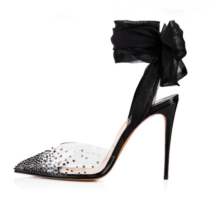 Großhandel Damen Schuhe Glitzer Bling High Heels Plateau Pumps Fashion Spitz Zehen Sandalen Slip On Slides Gold Silber Rot Schwarz Pink Bronze Von
