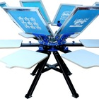 Cheap price high precision 6 color 6 station t-shirt round manual screen printing machine