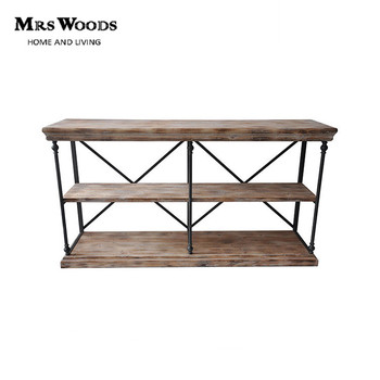 Superbe Wood And Metal Hall Entry Table