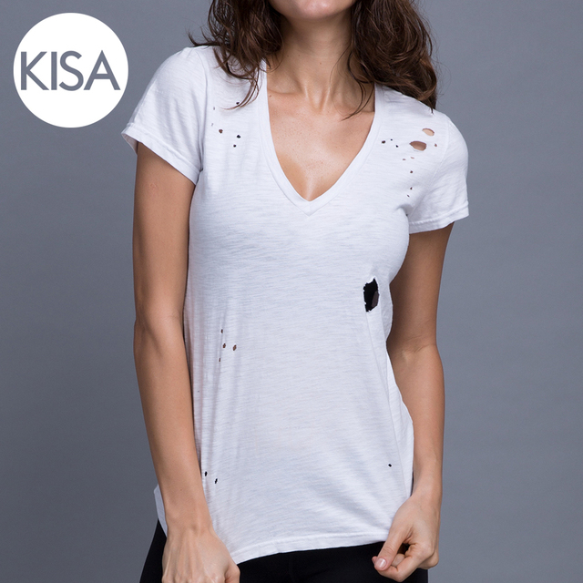 bc59e6e02698 2017 Custom Design Sportswear Cotton T Shirts Plain Ripped White T Shirts  for Women