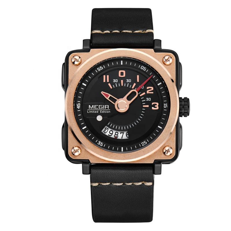 Megir square big face man watches wrist watch case manufacturer chrono watch wrist men фото