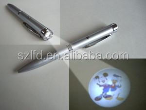Hot Selling Mini Led Penlight for kids ,Promotional pen with led light ,high quality projector indelible ink pens