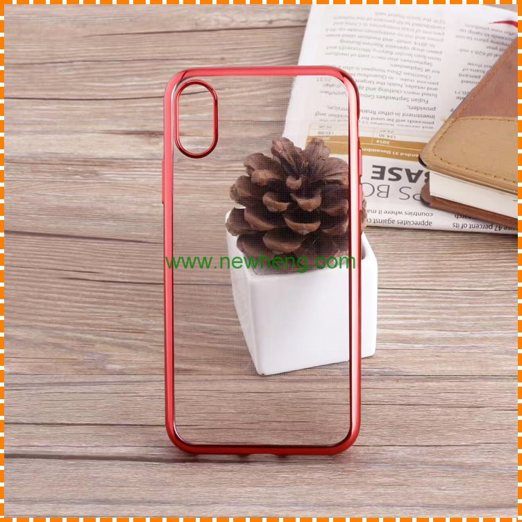 Newest electroplated edge extreme transparent soft TPU sublimation phone case for iphone 8