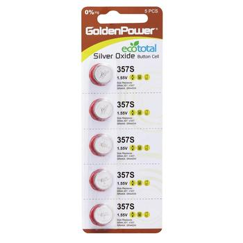 Golden Power Quality Guaranteed Golden Power Silver Oxide 1.55V Button Cell Battery 357 SR44 5PK