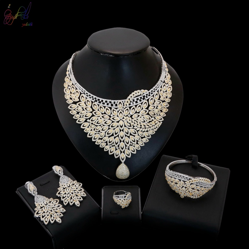 18k Gold Plated American Diamond Bridal Jewellery Sets Buy At The Price Of 226 32 In Alibaba Com Imall Com