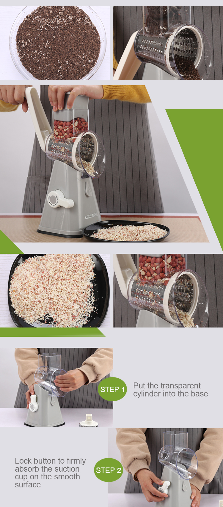 Queijo rotativo Slicer Vegetal Shredder Cutter Chopper Nut com 3 forma intercambiável Tambores de aço inoxidável como visto na tv