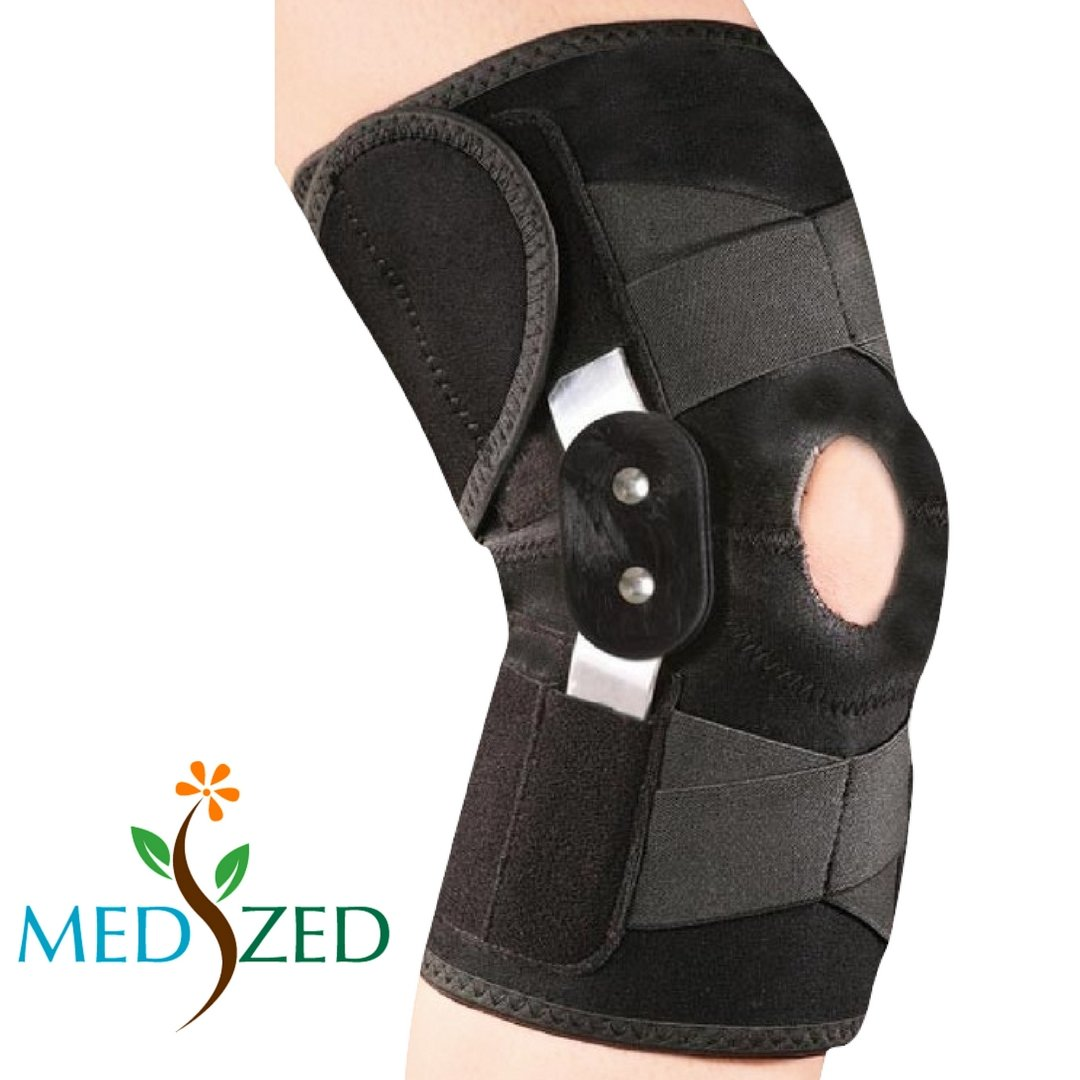 9194350894 MEDIZED Adjustable Double Metal and Hinged Knee Brace Support Protection  Arthritis Sports Injury Open Patella Gym