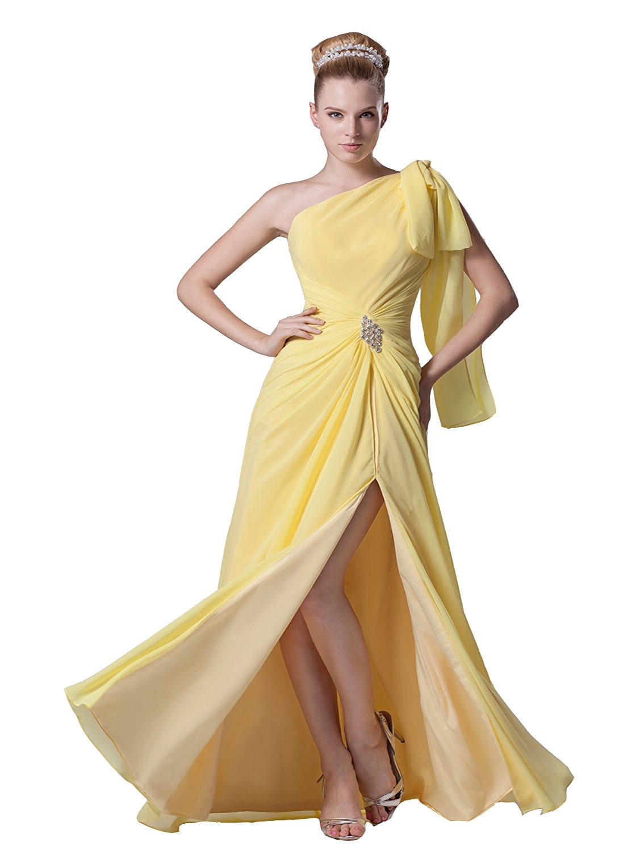 6725dc5892 Get Quotations · Angel Formal Dresses Women's One Shoulder Padded Ruffles  Slit Maxi Chiffon Dresses