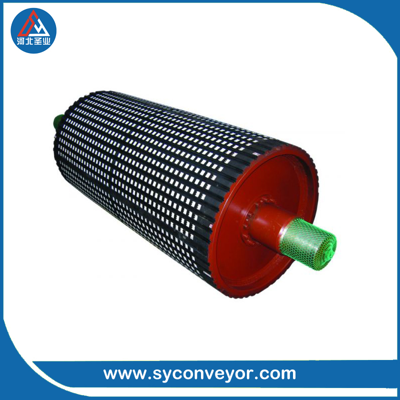 belt conveyor rubber coated drive pulley for coal mines