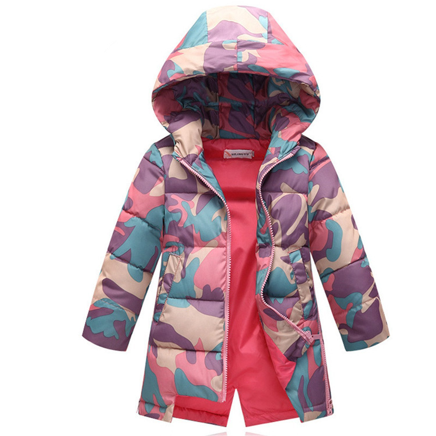 Baqijian Girls Parka Winter Coat Fur Kids Coat Baby Feather Parkas Teenagers Printing Camouflage Coat 5-12 T