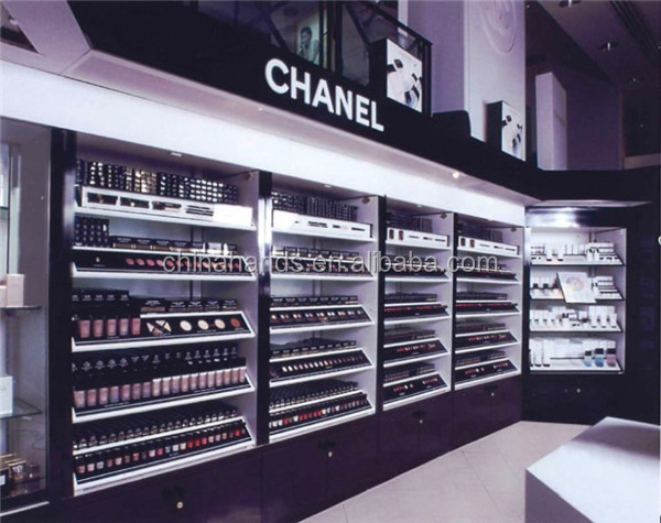 Polish Black Acrylic Shop Fittings Led Wall Display Cabinet For Cosmetic