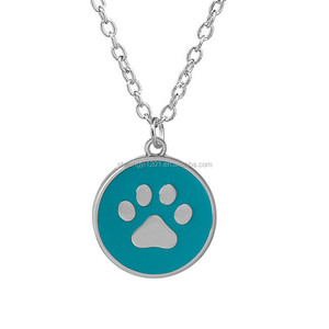Stainless Steel Round Shape Enamel Dog Cats Paw Print Charms Necklace Pet Lover Jewelry