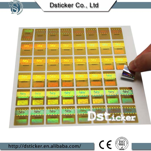 China Supplier 2016 Factory OEM Hologram Anti-Fake Gilding Label Sticker