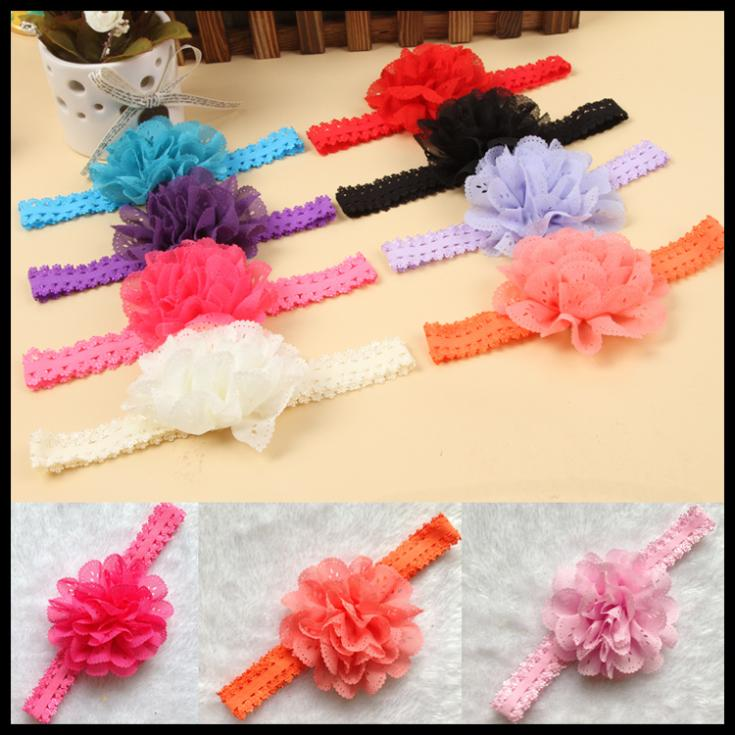 Fashion Baby Girl Lace Flower Hair Band Headband Hairband Hair Accessories 12 Colors Drop Shipping BB-101r