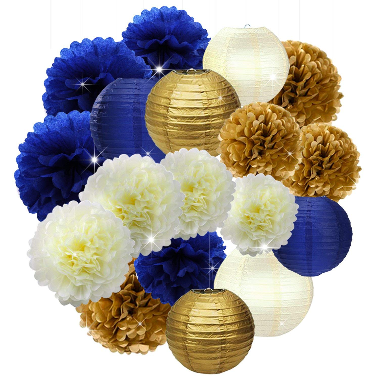 513fdf3a776ec Get Quotations · 18PCs Navy Blue Party Decorations Decor Kit Supplies Navy  Blue Gold Cream 10inch 12inch Tissue Paper