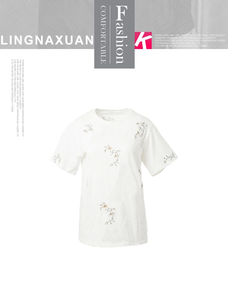 chinese style high quality custom embroidery white t shirt for woman