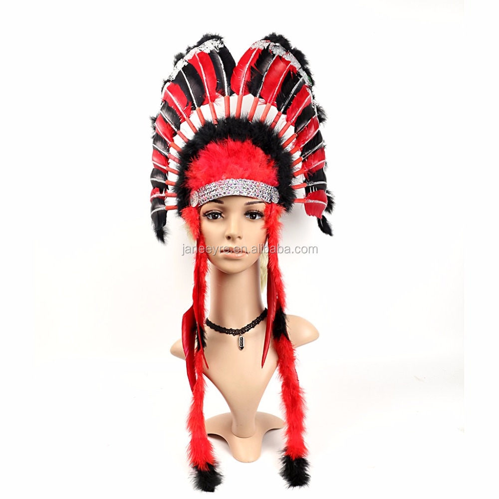 Deluxe Western Indian Chief Head Dress Adults Carnival Feather Headpiece