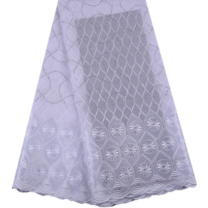White African Swiss Voile Lace High Quality African Lace Fabric 5 Yards 100% Cotton Swiss Voile Lace For Nigerian Wedding 1472