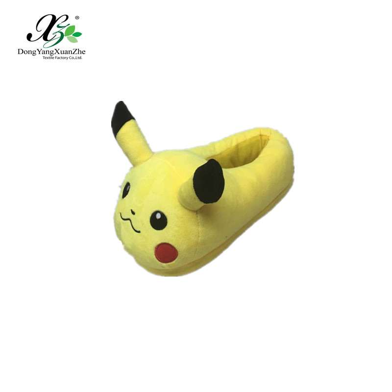 Wholesale Cheap Emoji Slipper Top Quality Cute Shape Plush Pokemon Pikachu Shoes