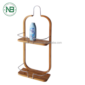 2 Tier Bamboo Bathroom Shower Caddy For Shampoo Conditioner Soap