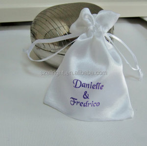 White Satin Jewelry Bags Drawstrings ,gift pouch