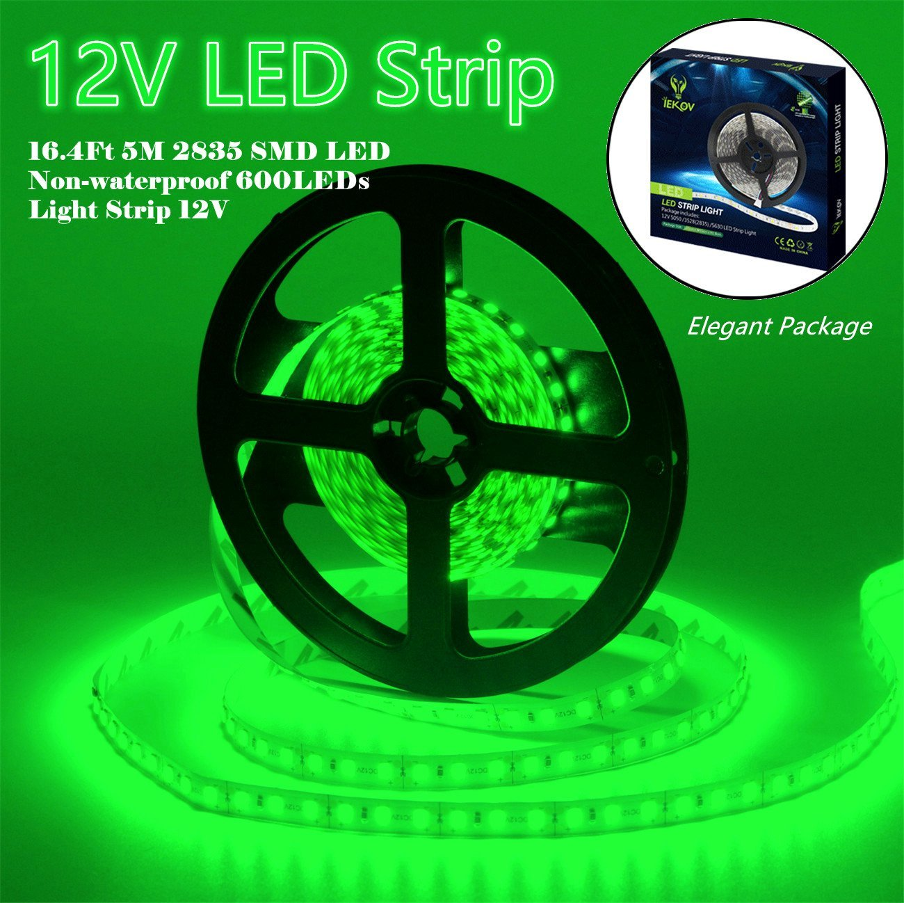 Led Strip Lights, IEKOV™ 2835 SMD 600LEDs Non-Waterproof Flexible Xmas Decorative Lighting Strips, LED Tape, 5M 16.4Ft DC12V, 3 times brightness than SMD 3528 LED Light Strip (Green)