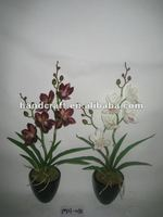 2016 Newest Small Two Stems Artificial Silk Potted Cymbidium Orchid MH-038