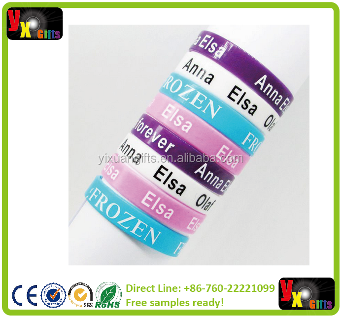 Frozen Princess Elsa Anna Olaf 12mm Silicone Rubber Bracelet Wristbands band Party Child kids Christmas xmas Gift