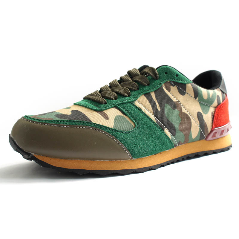 2015 New Brand Mens Camo Sneakers Shoes Spring Casual Flats For Men Running Sports Lace Up Mens Green Grey Walking Tenis Shoes