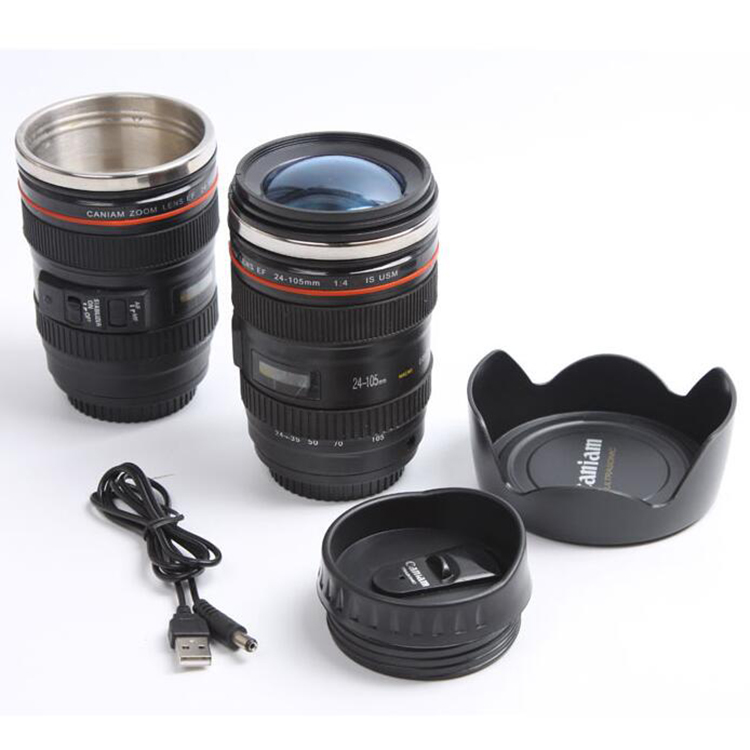 Self stirring camera lens mug coffee travel cup