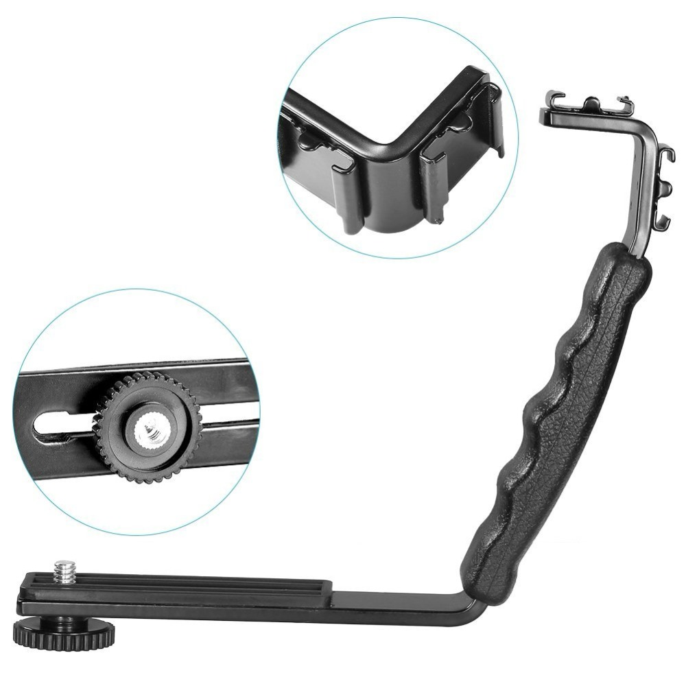 L Bracket Stand With 2 Hot Shoe for Zhiyun Smooth Q Stabilizer/Feiyu Gimbal/BY-MM1 Microphone/Video Light